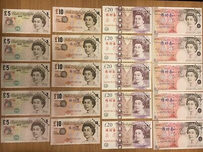 Novelty Fake Bank Notes PLAY MONEY 5 X Each Note Pretend GBP