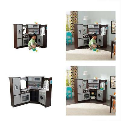 KIDKRAFT ULTIMATE Corner Play Kitchen With Lights Sounds Espresso - Kidkraft ultimate corner play kitchen with lights and sounds