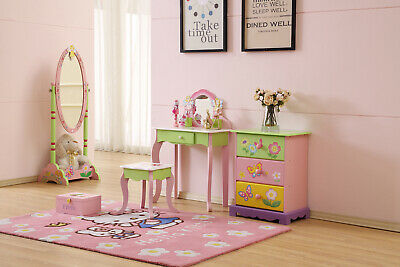 Wooden Hand Paint Girl Dressing Study Table Desk Vanity With Mirror Chair Stool