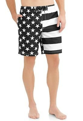 743cbacf28 Men's American Flag Stars Stripes Black & White Swim Trunk Board Shorts New
