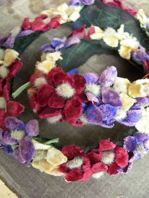 Adorable antique French 1920s rococo velvet flowers millinery hat band