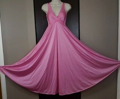 Vtg Olga Criss Cross Nightgown, style 92400 Pink, Womens Size XL