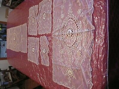 Vtg Antique French Normandy Lace Table Runner scarfs