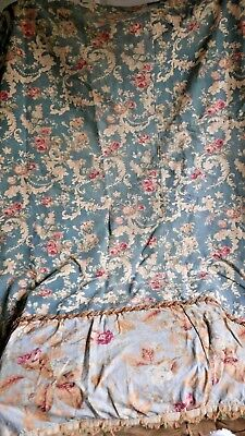 Antique French Floral Fabric Panel Blue Pink Roses Peonies - Decorative Antiques
