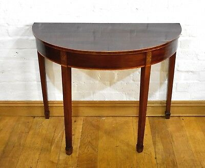 Antique inlaid mahogany demi lune half moon console side table