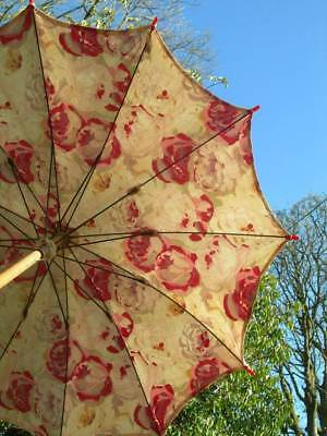 Divine antique French 1920s cotton parasol - cabbage roses