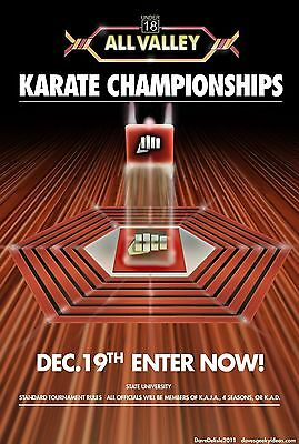 "Karate Kid Tournament All Valley Silk Fabric Poster 11""x17"" From 1984"