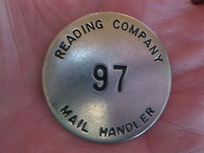 Vintage Antique RAILROAD mail handler Brass pin badge : Reading Company