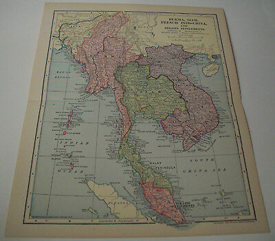 Antique 1902 Map of Burma, Siam, French Indo-China, and Straights Settlements