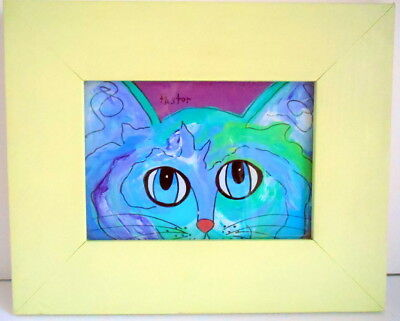 Wall Decor Painting on Glass CAT KITTY Framed Signed Decorative Home Accent EUC