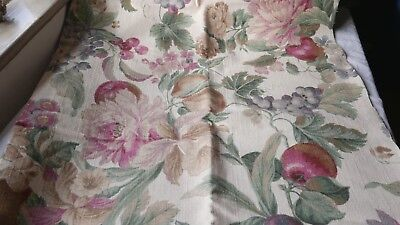 Vintage French Fabric, Floral Cotton Panel Medium Weight Furnishings Textile 1pc