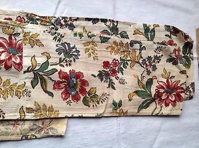 "Vintage French Fabric Panel Floral Cotton Textile Pink Yellow Green Blue 149""x9"""
