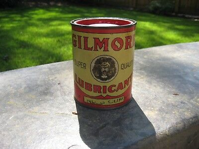 Gilmore Lubricant: Vintage 1 pound can:  Lion Head Oil in Good Condition