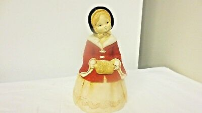 """70's Marty Sculpture Chalkware Red Girl 7"""" Bell by Martha Carey-Flocked Coat"""