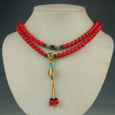 100% Natural Red Turquoise&Brass Handwork Decoration Necklaces RX001