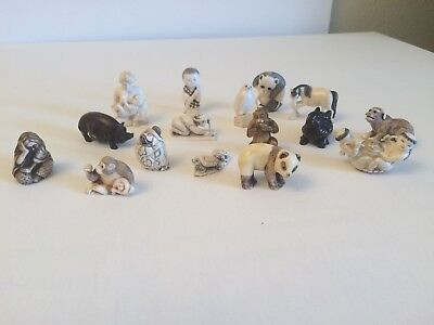 Antique Collection of 14 Japanese Netsuke with 2 mini carvings.