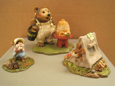 Wee Forest Folk Lot of (3) B-11 Honey Bear, MS16 Camping Out, M281 Mallowing Out