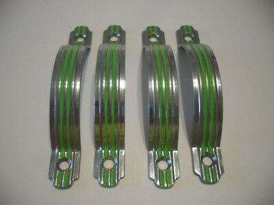 4 Vintage CHROME Steel Drawer Strap Pulls Green Lines Raised Face Cabinet Handle