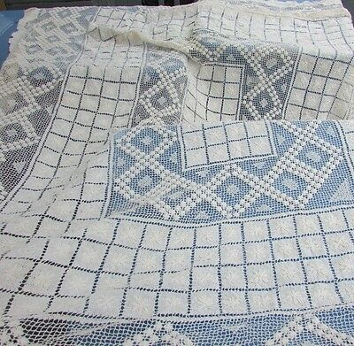 Antique Lace Tablecloth Hand-Knotted Italian Filet Embroidery Intricate Darned