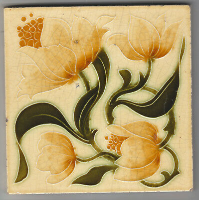 Tile Art Nouveau Majolica Molded Design Manufactured In The Early C.1900's