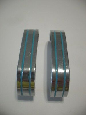 2 Vintage Mid Century CHROME Brass DRAWER Pulls TURQUOISE Lines Cabinet Handles