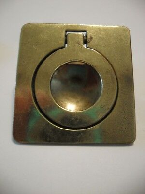 Vtg BRASS RING Pull Inset Flush Mount Type Solid Cast Square Base Keeler Brass