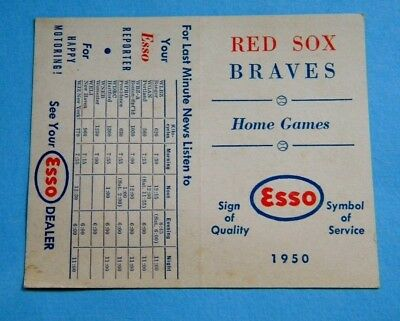Vintage 1950 RED SOX BRAVES Home Game Schedule Sponsored by Esso ~ Estate