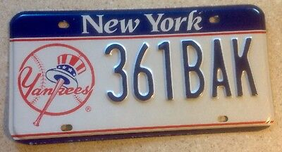Blue Banner New York Yankees NY License Plate