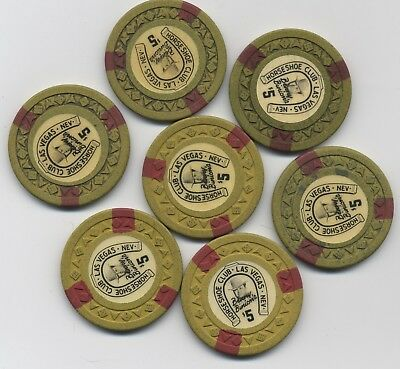Horseshoe Club Binions $5 Las Vegas Arrowdie 3rd issue chip lot of 7 lucky chips