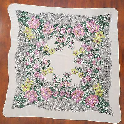 Beautiful large filmy vintage scarf with floral print