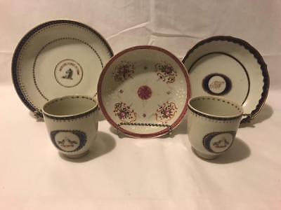 Grouping of 5 Qianlong Period Chinese Export Armorial Ware Porcelain Circa 1780s