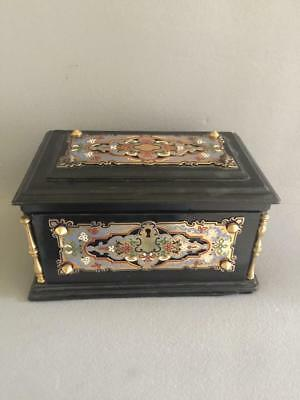 Gorgeous Antique  Gilt Bronze Champleve Enamel Wood Jewel Casket Box French Nr