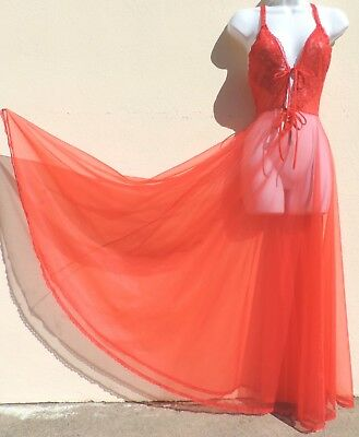 VTG Pandora Lingerie SHEER Chiffon Red Negligee Nightgown Lace Bodice L