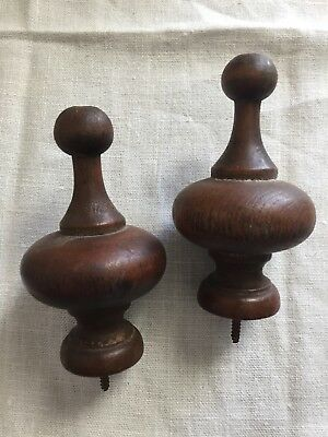 ANTIQUE WOODEN POST FINIAL END CAP Clock Bed Post Pair