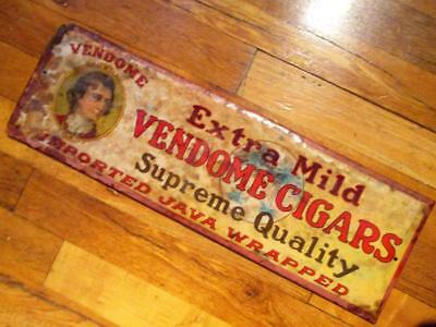 "Antique ""VENDOME CIGARS"" Imported Java Wrapped-Celluloid On Tin Sign"