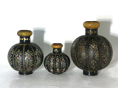 Rare Set of Three Antique Indian Hand Painted Toleware Vases