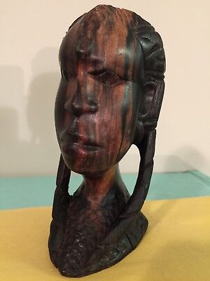 """Belgian Congo.antique Wooden Bust Sculpture.brought To Usa In 1956.7 3/4""""T"""