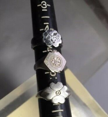 3 Antique Silver Signed Flower Themed Chinese Rings