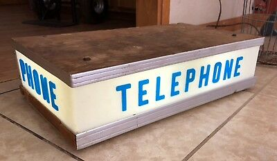 Vintage Rare Pay Phone Booth Light Sign-Works!