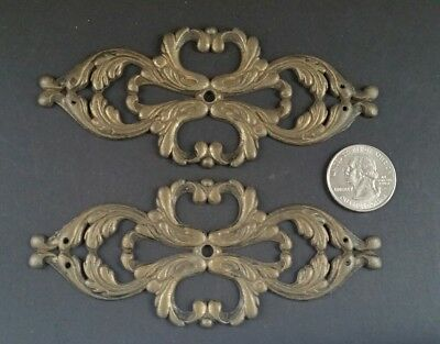 "2 Salvaged Antique French Ornate Brass Large Back Plates Decorative 4 3/4""w #Z45"