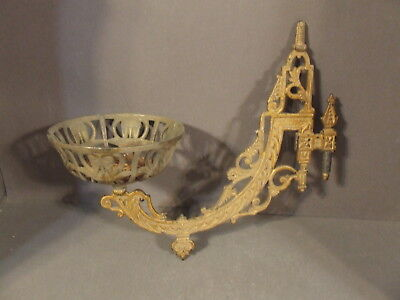 Antique Candle Oil Lamp Holder Swing Arm Metal Wall Sconce Marked Pat. June 1883