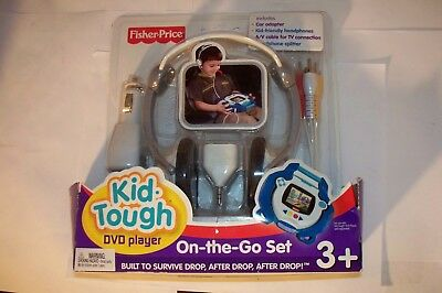 Fisher Price Kid Tough On the Go Travel Set for DVD Player Car Adapter Headphone