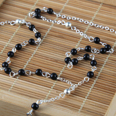 Women's Black Rosary Beaded Silver Plated Cross Pendant Necklace Luck Gifts