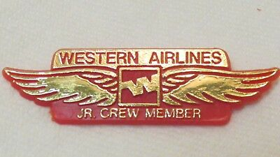 "Vintage Plastic Western Airlines Jr. Crew Member Wings, Michaud, 2.5"", New  #2"