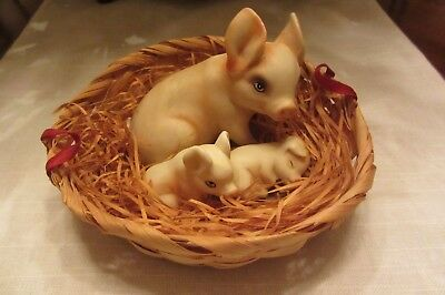 Three pigs in a basket