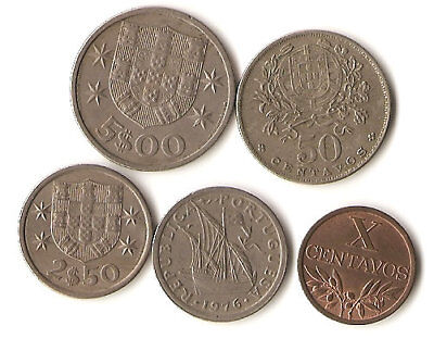 Five coins from Portugal, 10 and 20 centimos, 2.5 and 5 Escudos