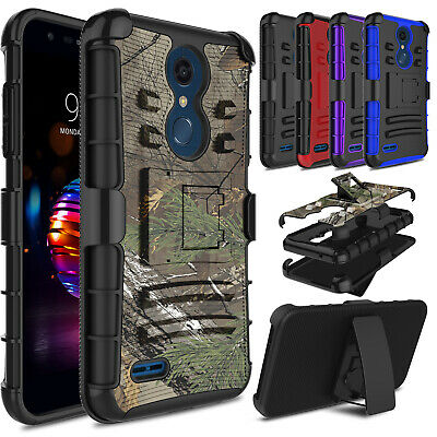 For LG Phoenix Plus / K30 Hybrid Clip Rugged Holster Stand Hard Armor Case Cover