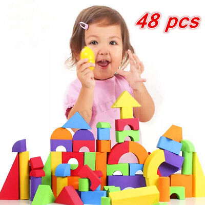 Pack 48 Colored Soft EVA Foam Building Blocks Bricks SET Children Kids Play Toy