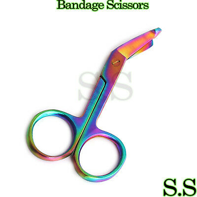 "1 Lister Bandage Nurse Scissors - 3.5"" Multi Titanium Color Rainbow NURSE"