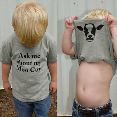 Kids Children Baby Girls Boys Cow Inside Letter Soft Tops Casual T-Shirt Clothes